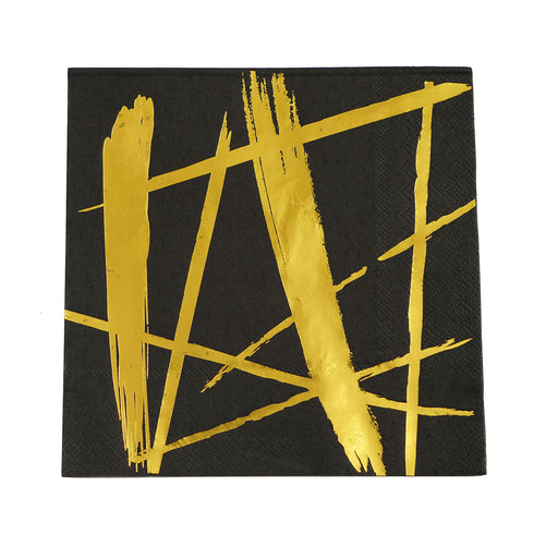 20 Pack - 3 Ply Metallic Gold Streaks Design Black Paper Dinner Napkins - Wedding Cocktail Napkins