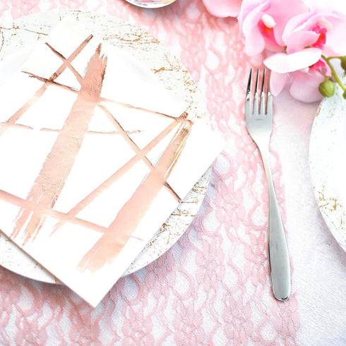 20 Pack - 3 Ply Metallic Rose Gold Streaks Design Paper Dinner Napkins - Wedding Cocktail Napkins