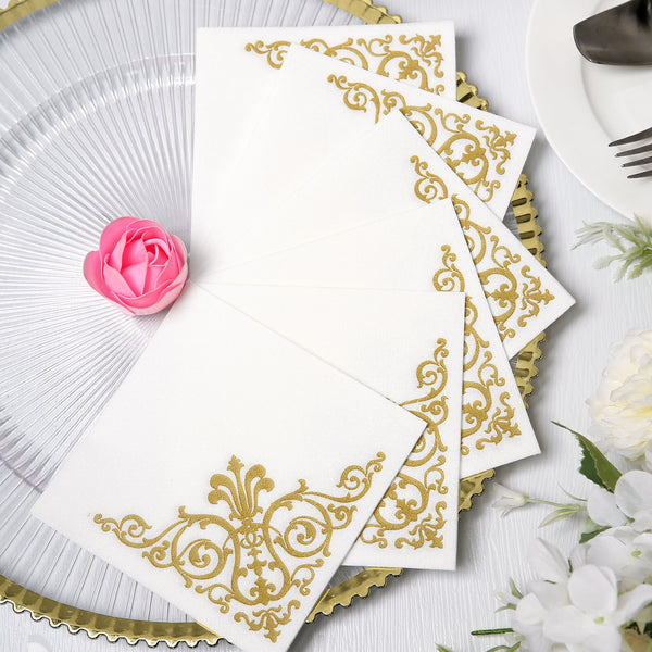 "20 Pack | 10""x10"" White Paper Napkins, Wedding Cocktail Napkins with Metallic Gold Fleur Vintage Design"