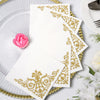 10inch White Paper Napkins, Wedding Cocktail Napkins with Metallic Gold Fleur Vintage Design