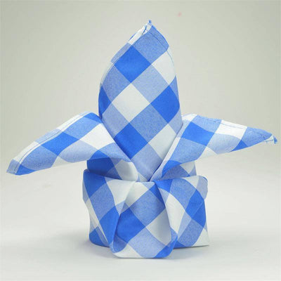 "15x15"" BLUE/WHITE  Checkered Wholesale Gingham Polyester Linen Picnic Restaurant Dinner Napkins - 5 PCS"