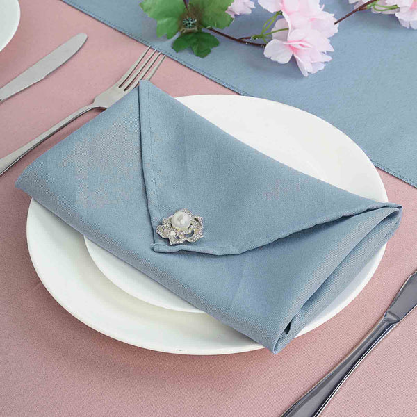 "5 Pack 20""x20"" Dusty Blue Polyester Linen Napkins"