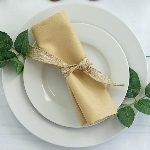 "5 Pack 20x20"" Champagne Polyester Linen Napkins"