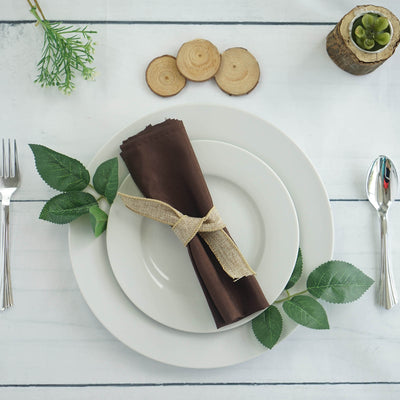 "20x20"" Polyester Linen Napkins - 5pcs - Chocolate"