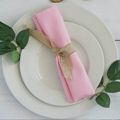 "5 Pack 20""x 20"" Pink Polyester Linen Napkins"