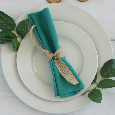 "5 Pack 20x20"" Turquoise Polyester Linen Napkins"