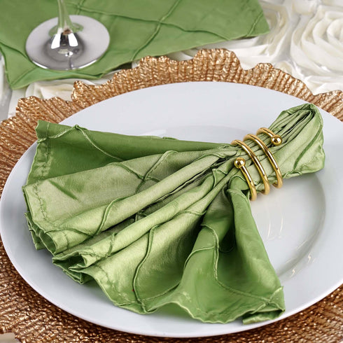 "5 PCS Wholesale Apple Green Pintuck Napkins For Wedding Birthday Party Tableware - 17""x17"""