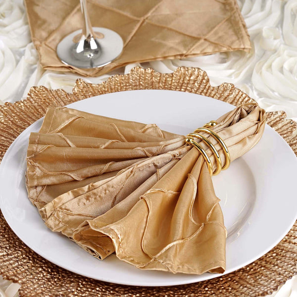 Pack of 5 - 17''x17'' Champagne Pintuck Napkins