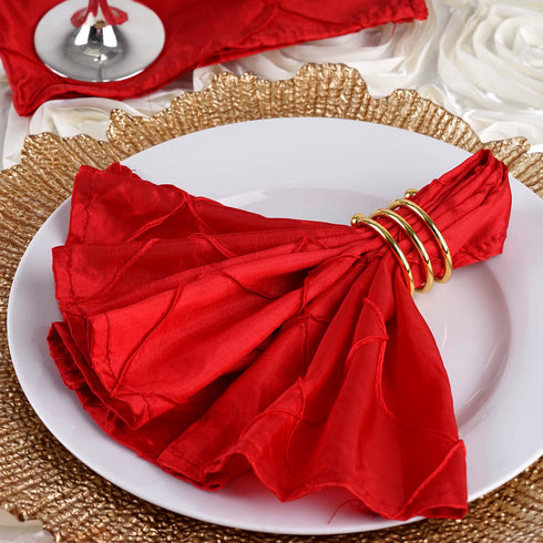 "Pintuck Napkins - 17""x17"" - Red - 5pcs"