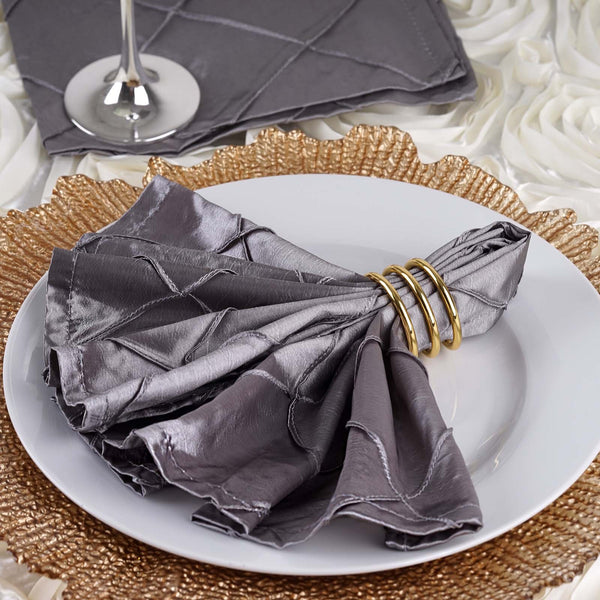 Pack of 5 - 17''x17'' Silver Pintuck Napkins