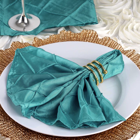 "5 PCS Wholesale Turquoise Pintuck Napkins For Wedding Birthday Party Tableware - 17""x17"""
