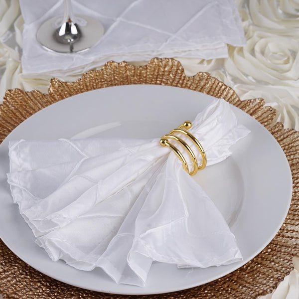 Pack of 5 - 17''x17'' White Pintuck Napkins