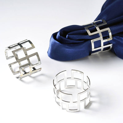 Striking Silver Plated Aluminum Napkin Rings - 4/pk