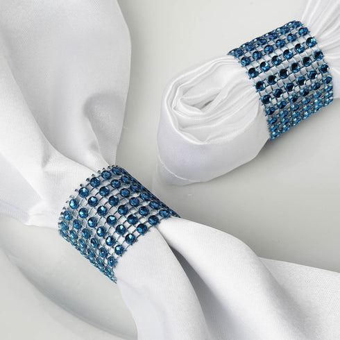 Navy Diamond Rhinestone Napkin Ring With Velcro - Set of 10