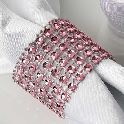 Diamond Rhinestone Napkin Ring With Velcro - Set of 10 - Pink