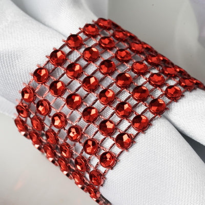 Red Diamond Rhinestone Napkin Ring With Velcro - Set of 10