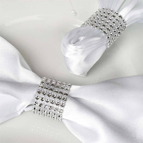 SILVER Diamond Rhinestone Napkin Ring With Velcro - Set of 10