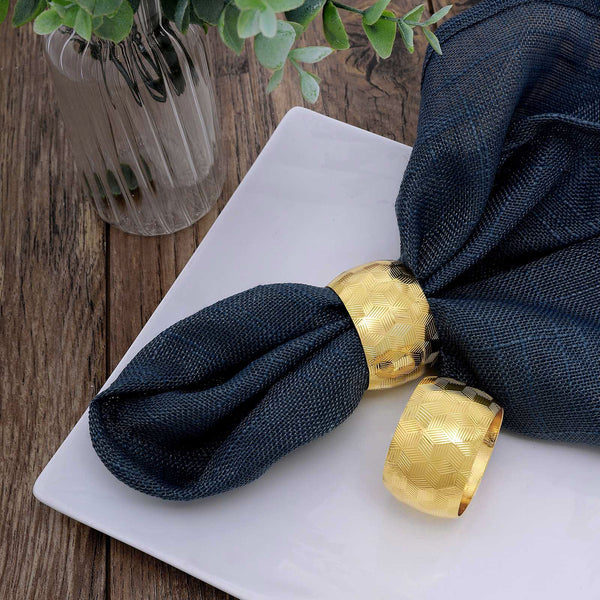 4 Pack Metallic Gold Napkin Rings with Geometric Engraved Design