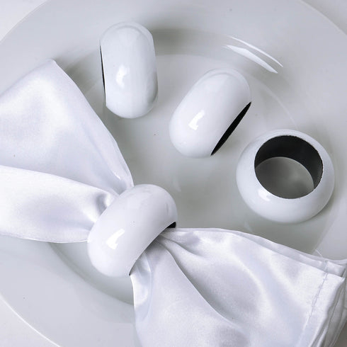 4 Pack White Acrylic Napkin Rings