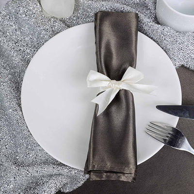 "5 Pack 20""x20"" Charcoal Gray Satin Linen Napkins"