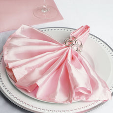 "5 Pack 20""x 20"" Blush Satin Linen Napkins"