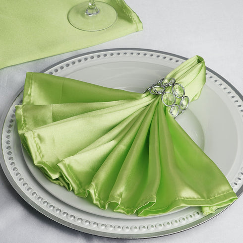 "5 Pack 20""x 20"" Apple Green Satin Linen Napkins"