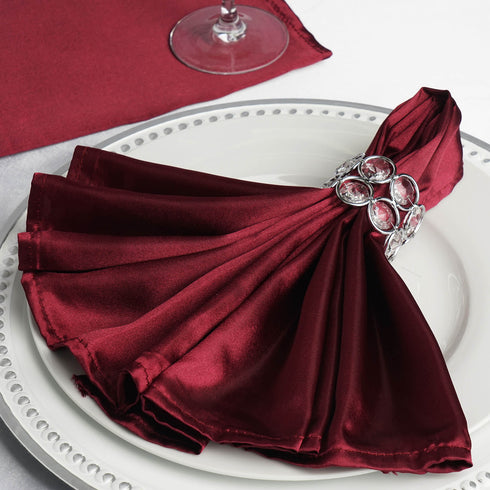5 PCS Wholesale Burgundy Satin Napkins For Wedding Birthday Party Tableware - 20x20""