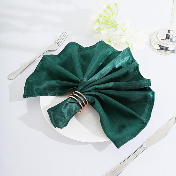 "5 Pack - 20""x 20"" Hunter Emerald Green Satin Linen Napkins"