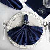 "5 Pack 20""x 20"" Navy Blue Satin Linen Napkins"