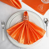 "5 Pack 20""x 20"" Orange Satin Linen Napkins"
