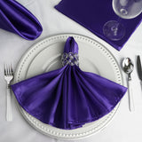 "5 Pack 20""x 20"" Purple Satin Linen Napkins"