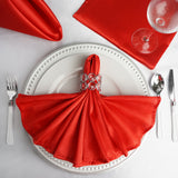 5 PCS Wholesale Red Satin Napkins For Wedding Birthday Party Tableware - 20x20""