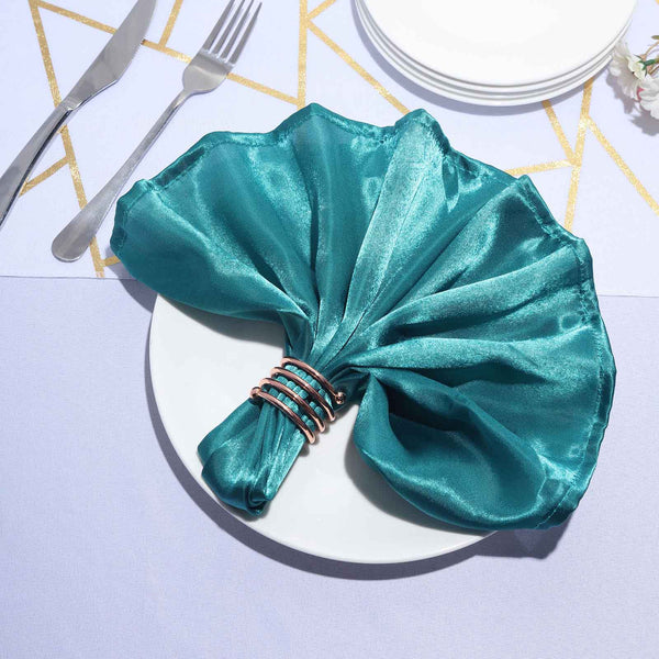 "5 Pack - 20""x 20"" Teal Satin Linen Napkins"