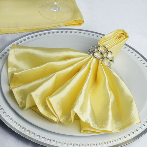 "5 Pack 20""x 20"" Yellow Satin Linen Napkins"
