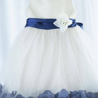 Tulle Overlay Flower Girl Petal Dress - White