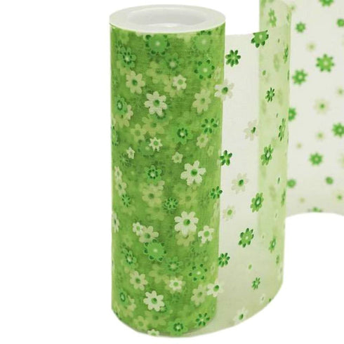 "Flower Shower Nylon Organza - Apple Green 6"" x 10yards"