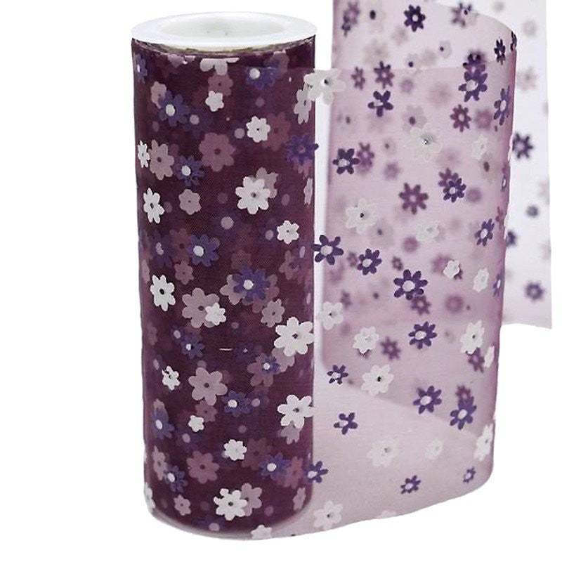 "Flower Shower Nylon Organza - Eggplant 6"" x 10yards"