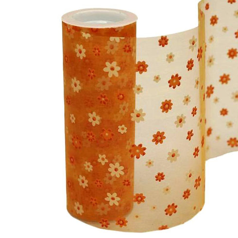 "Flower Shower Nylon Organza - Orange 6"" x 10yards"
