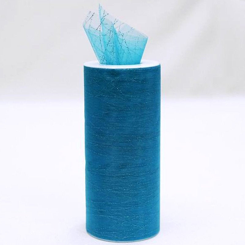 "Modern Sparkles & Stripes Organza Tulle 6"" x 10yards Turquoise"