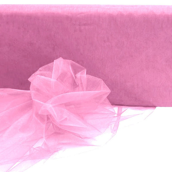 "54"" x 40 Yards Pink Sheer Organza Fabric Bolt"