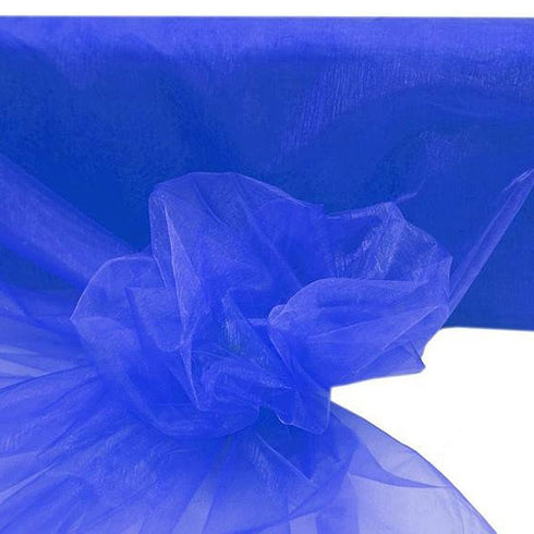 "54""x40 Yards Sheer Organza Fabric Bolt - Royal Blue"