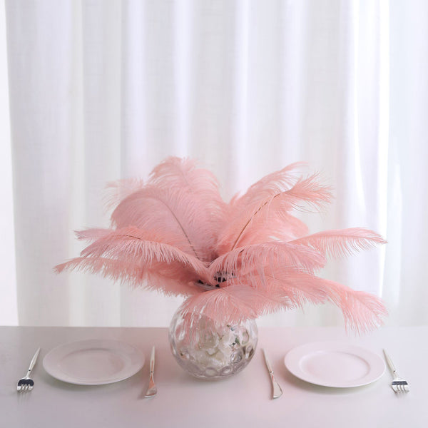 "Pack of 12 - 13""-15"" Rose Gold Natural Plume Ostrich Feathers Centerpiece"