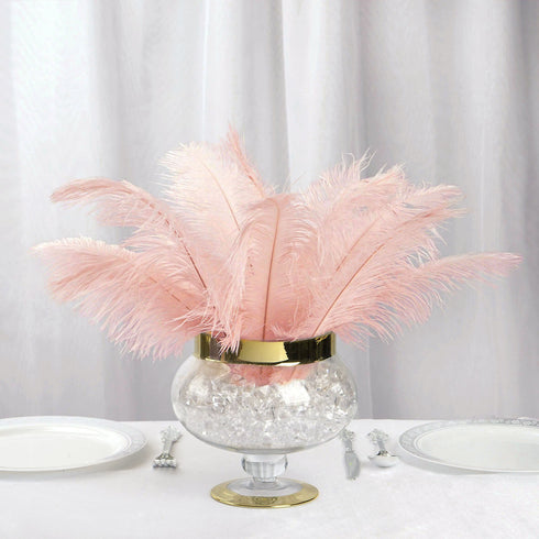 "12 Pack | 13""-15"" Rose Gold Natural Plume Ostrich Feathers Centerpiece"