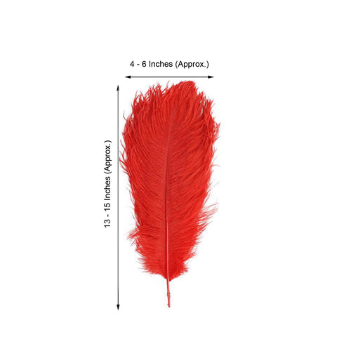 "Pack of 12 - 13""-15"" Red Natural Plume Ostrich Feathers Centerpiece"