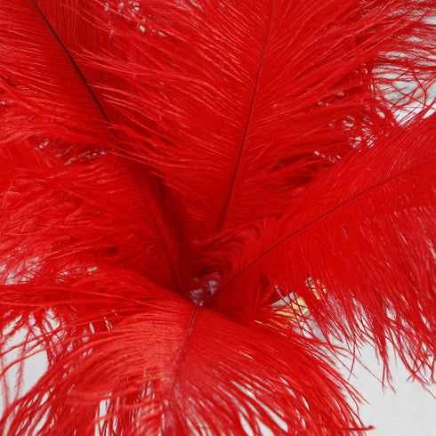 "12 Pack | 13""-15"" Red Natural Plume Ostrich Feathers Centerpiece"