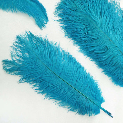 "12 Pack | 13""-15"" Turquoise Natural Plume Ostrich Feathers Centerpiece"