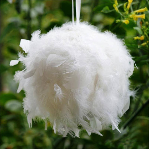 "Serene White Ostrich Feather Kissing Ball, Size- 8""- 4 PCS"