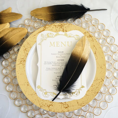 30 Pack - Metallic Gold Dipped Black Real Goose Feathers - Craft ...