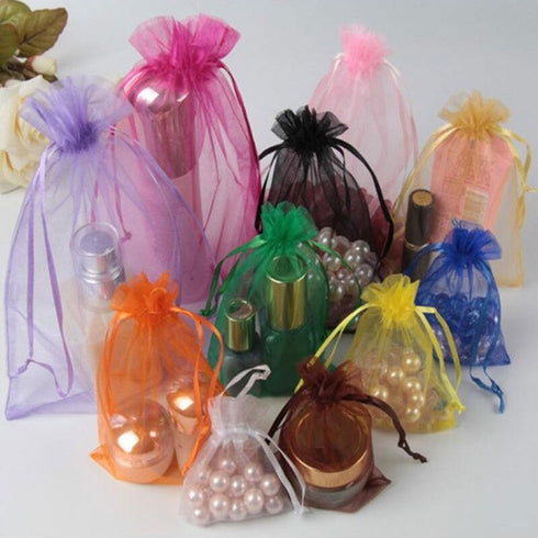 "10 Pack | 6""x9"" Fushia Organza Favor Bags Party Drawstring Pouches"