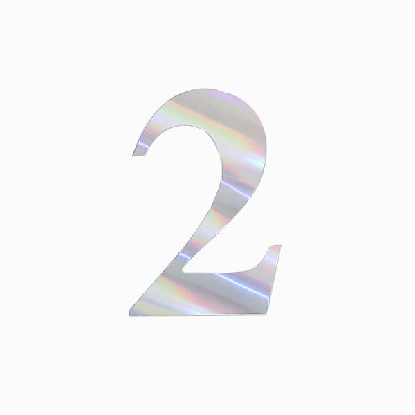 "4 Pack - 5"" Iridescent Number Stickers Banner, Customizable Stick on Numbers - 2"